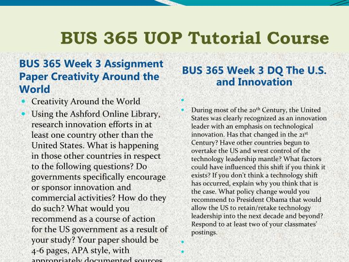 BUS 365 Week 3 Assignment Paper Creativity Around the World