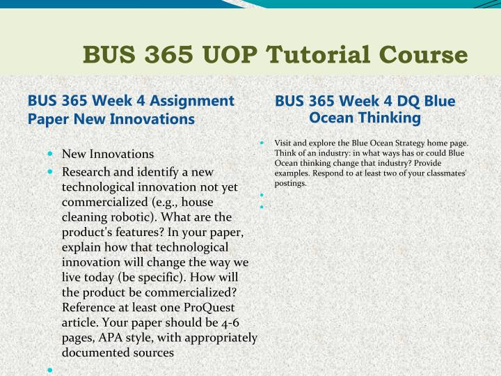 BUS 365 Week 4 Assignment Paper New Innovations