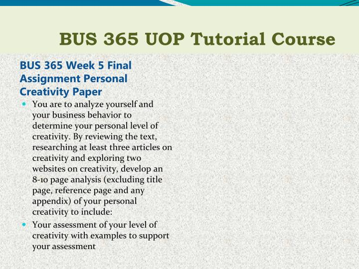 BUS 365 Week 5 Final Assignment Personal Creativity Paper