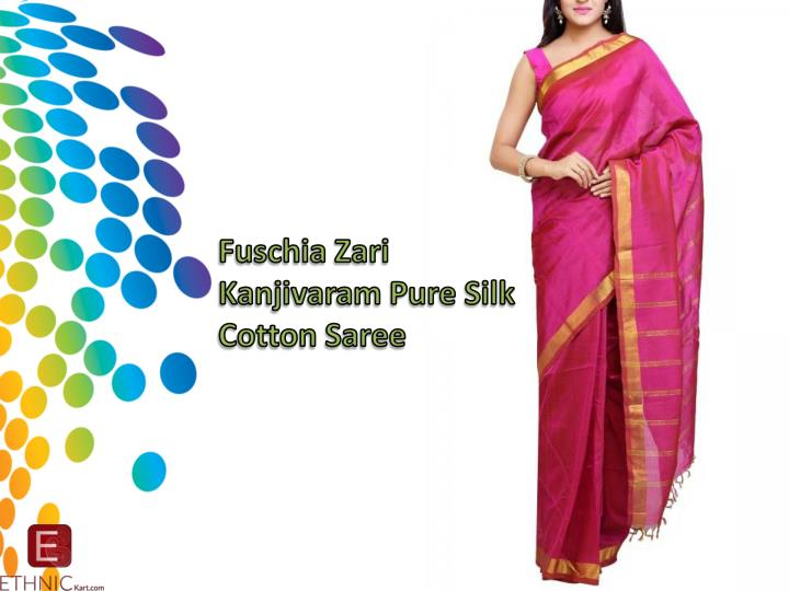 Fuschia Zari Kanjivaram Pure Silk Cotton Saree
