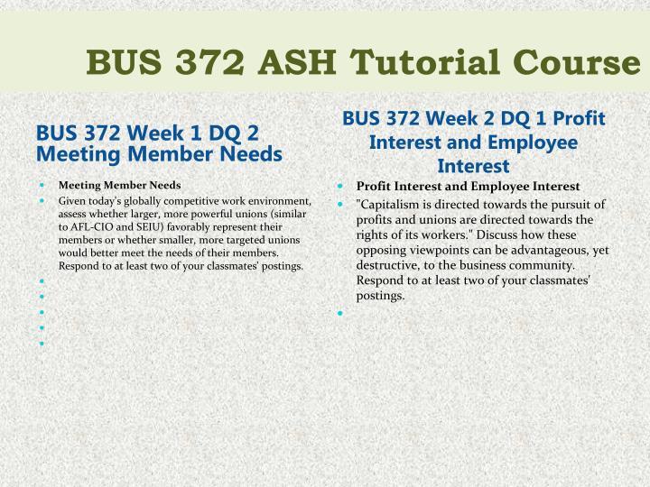 BUS 372 Week 1 DQ 2 Meeting Member Needs