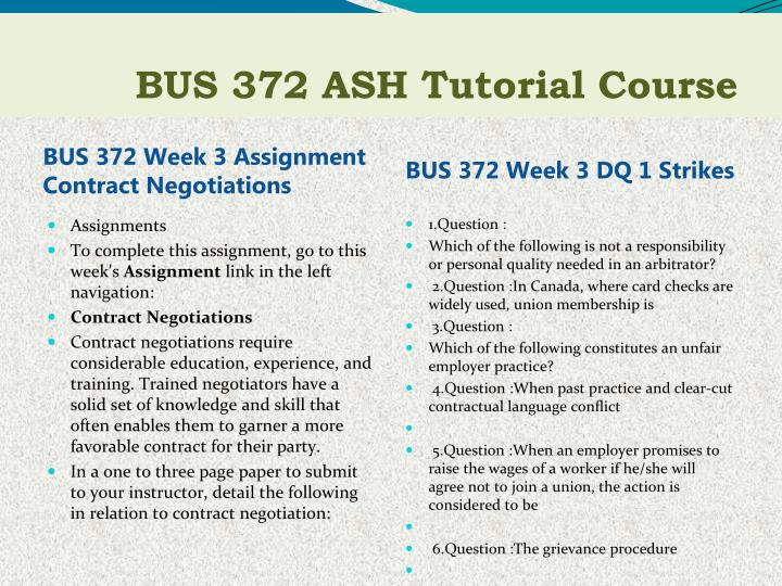 BUS 372 Week 3 Assignment Contract Negotiations