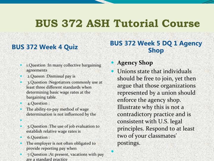 BUS 372 Week 4 Quiz