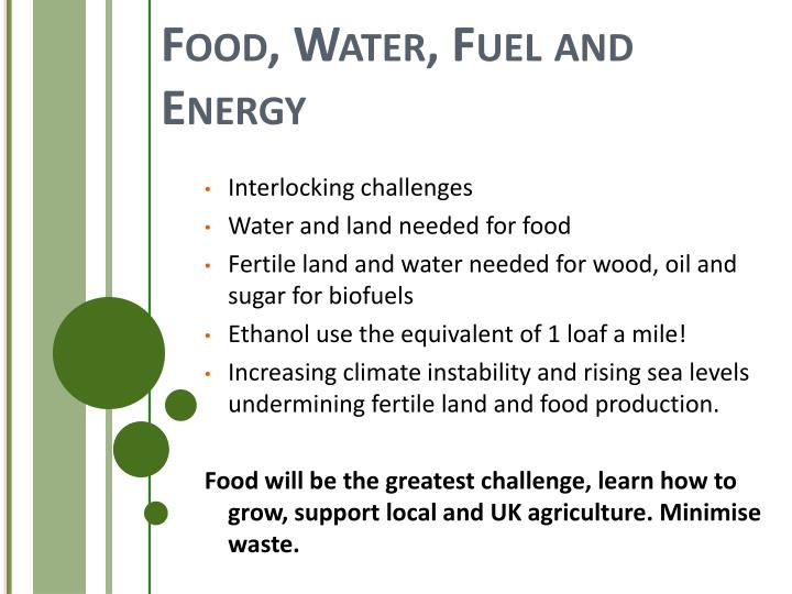 Food, Water, Fuel and Energy