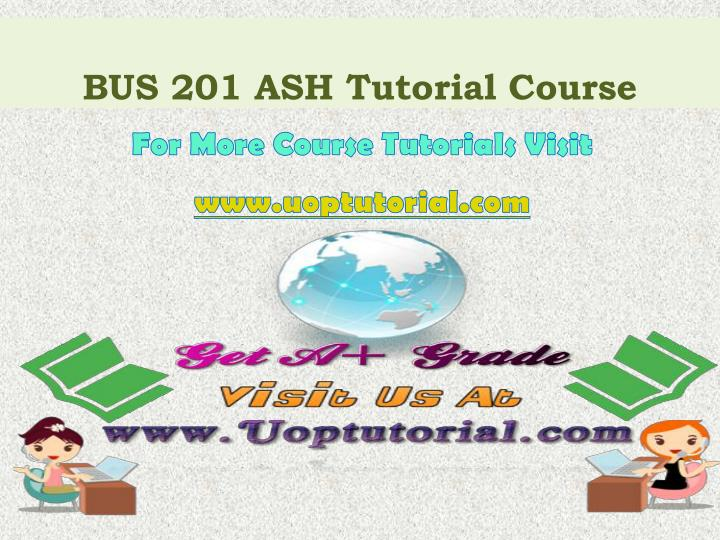 BUS 201 ASH Tutorial