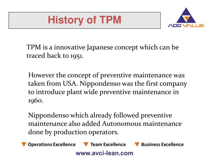 TPM is a innovative Japanese concept which can be traced back to 1951.