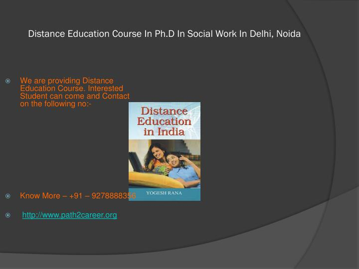 Distance education course in ph d in social work in delhi noida1