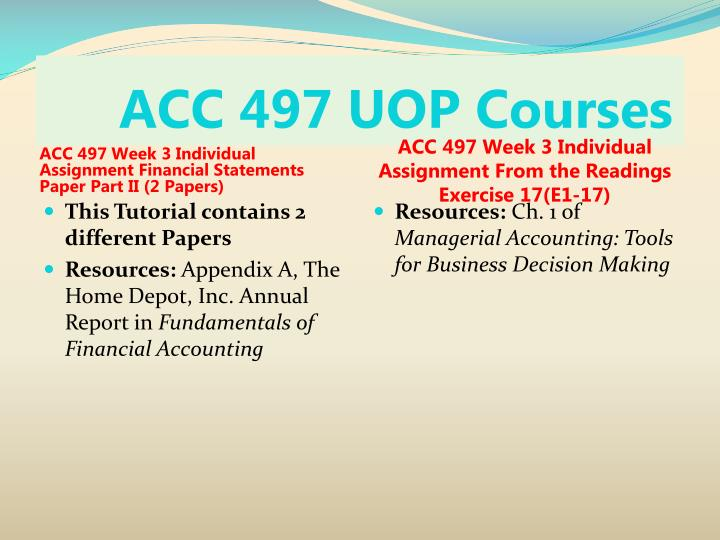 ACC 497 UOP Courses