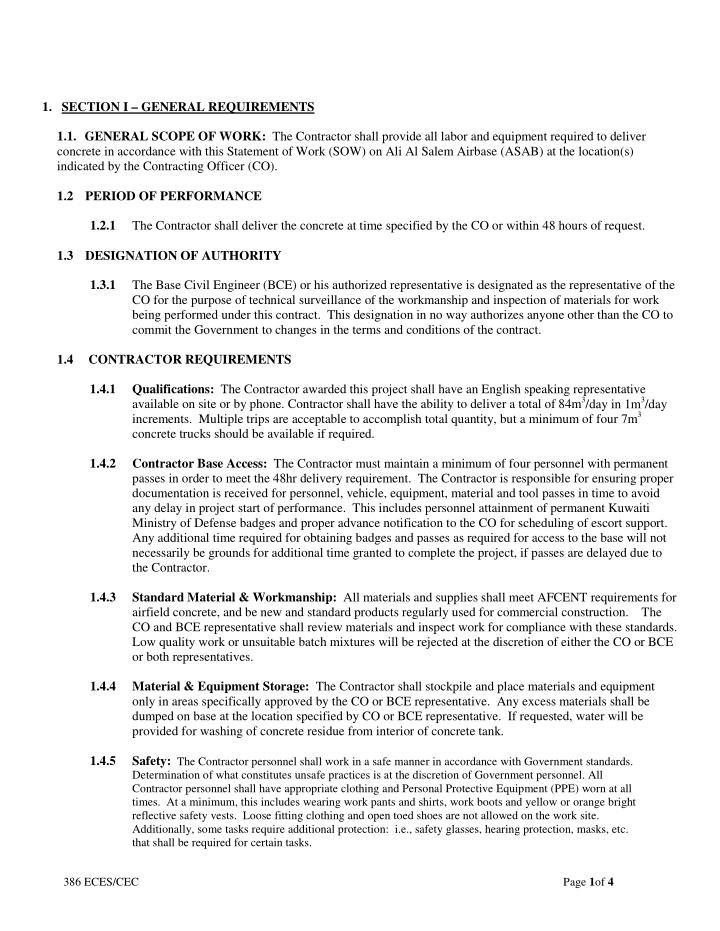1.   SECTION I – GENERAL REQUIREMENTS