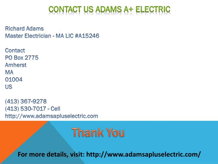Contact Us Adams A+ Electric