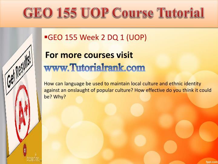 GEO 155 UOP