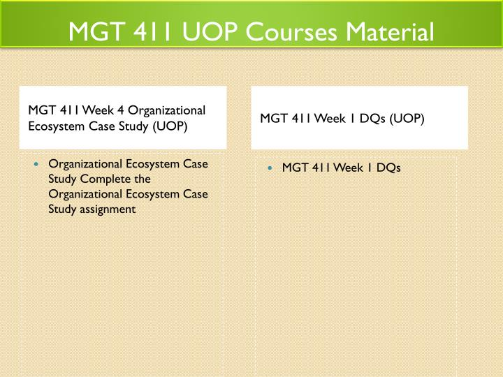 MGT 411 UOP Courses