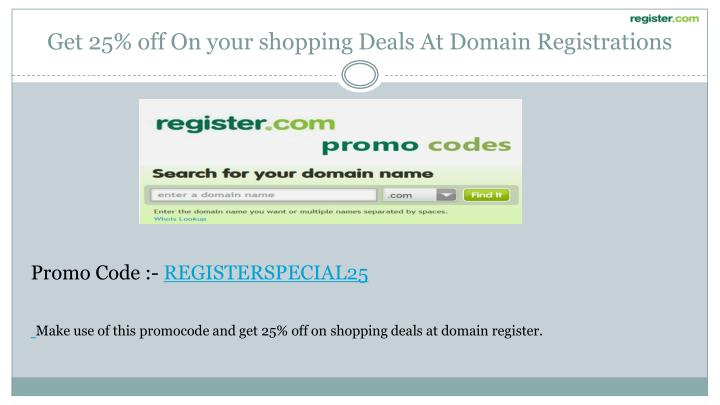 Get 25% off On your shopping Deals At Domain Registrations