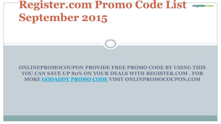 Register.com Promo Code List September 2015