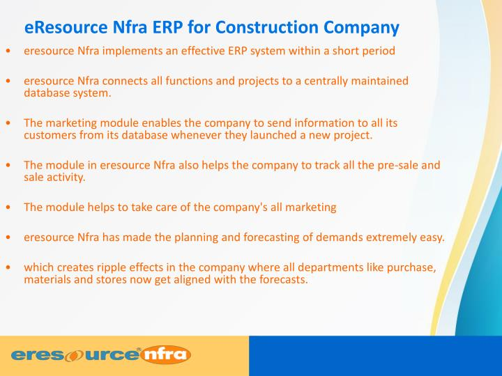 Eresource nfra erp for construction company