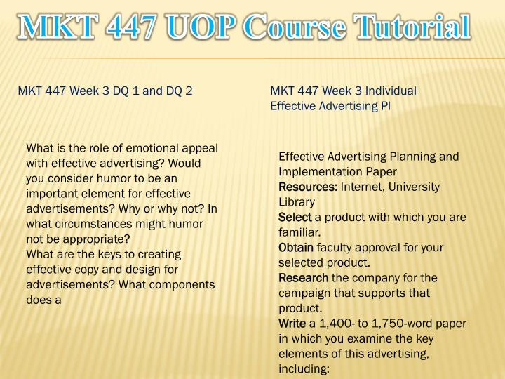 MKT 447 UOP Course Tutorial