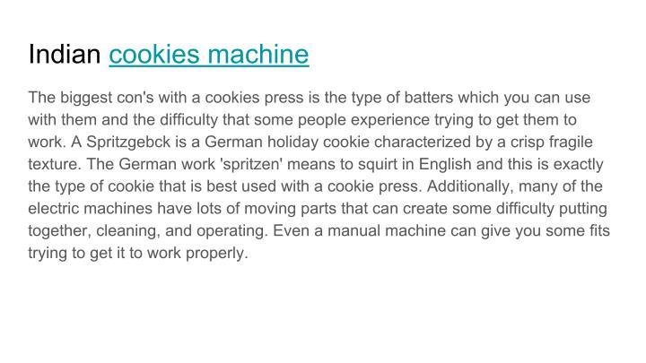 Indian cookies machine