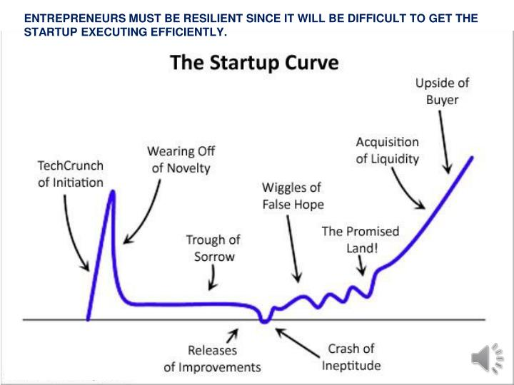 ENTREPRENEURS MUST BE RESILIENT SINCE IT WILL BE DIFFICULT TO GET THE STARTUP EXECUTING EFFICIENTLY.