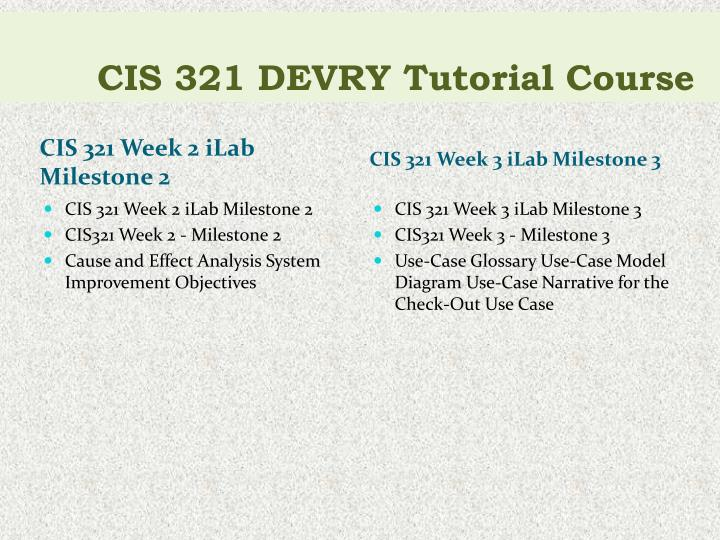 CIS 321 DEVRY Tutorial