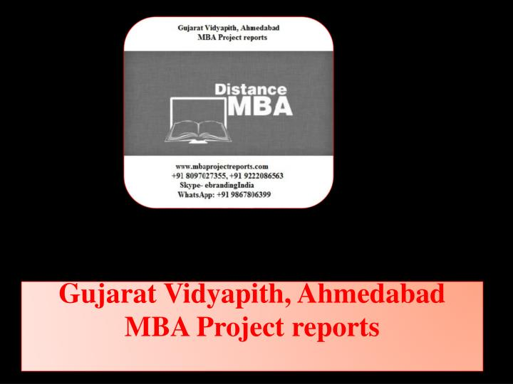 Gujarat vidyapith ahmedabad mba project reports