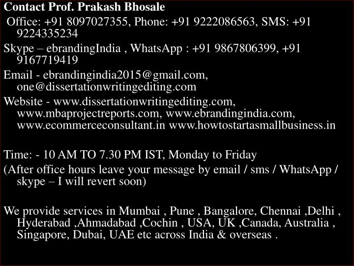Contact Prof. Prakash Bhosale