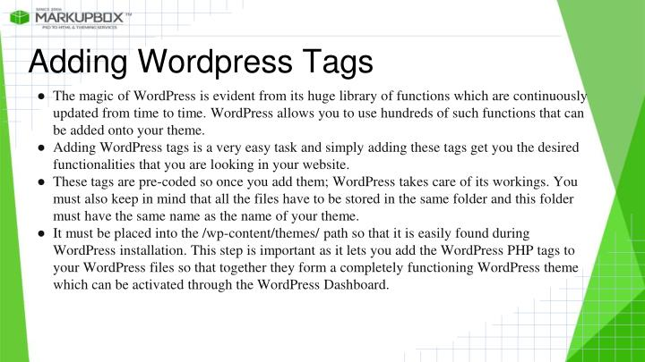 Adding Wordpress Tags
