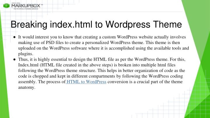 Breaking index.html to Wordpress Theme