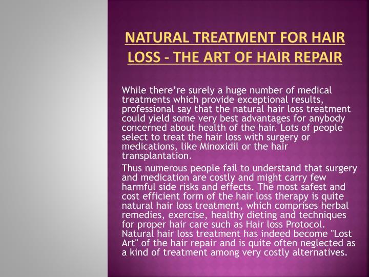 Natural Treatment for Hair Loss - The Art of Hair Repair