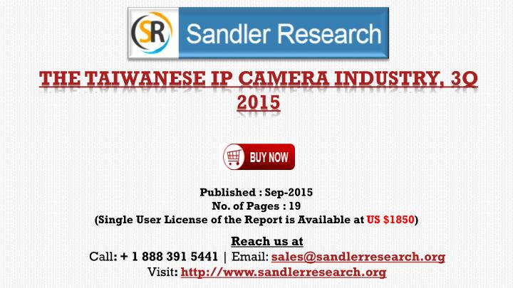 The taiwanese ip camera industry 3q 2015