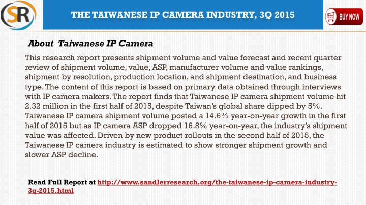 The taiwanese ip camera industry 3q 20152