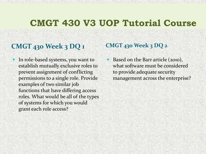 CMGT 430 V3 UOP Tutorial