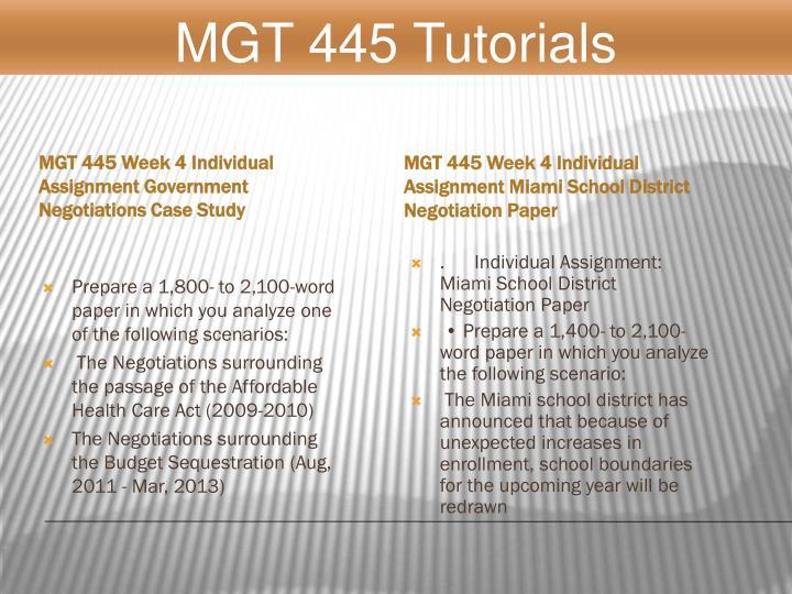 MGT 445 Tutorials