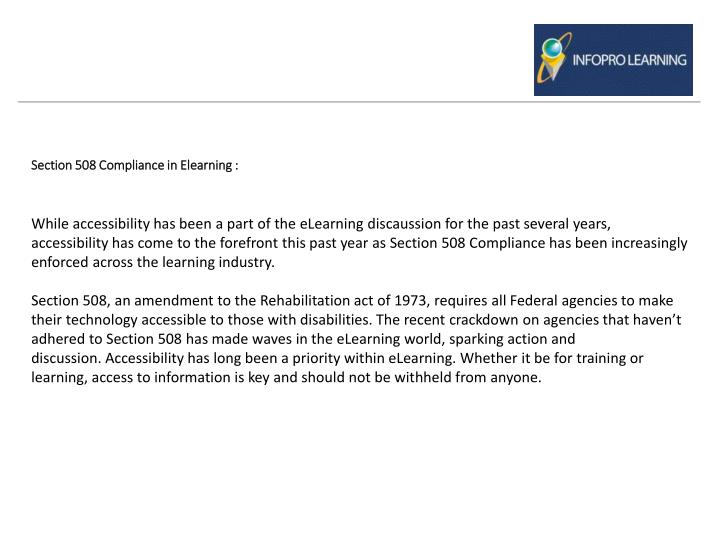 Section 508 compliance in elearning