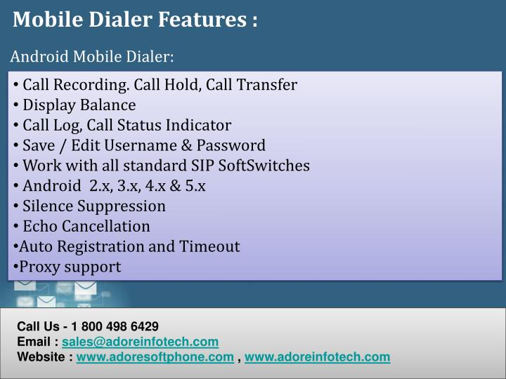 Mobile Dialer Features :