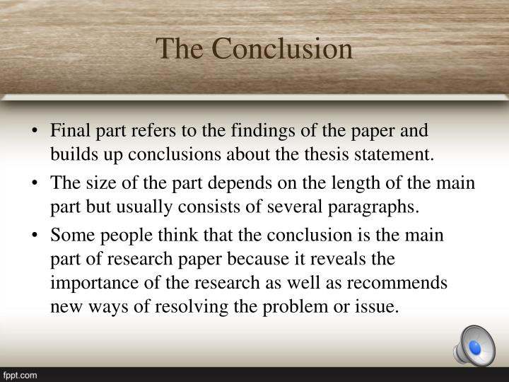 major parts of the term paper Parts of a research paper it is usually one of the last parts of the paper to be what are the take home messages or major accomplishments of.