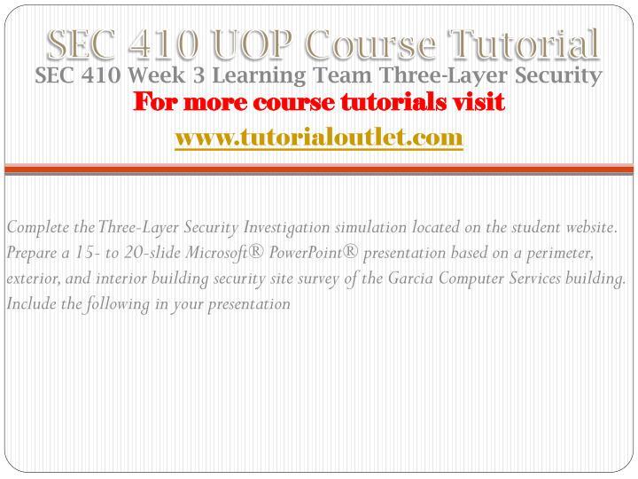 SEC 410 UOP Course