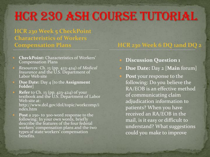 hcr 230 characteristics of workers compensation plans