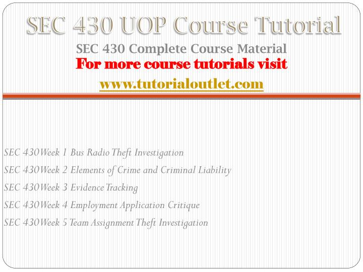 Sec 430 uop course tutorial