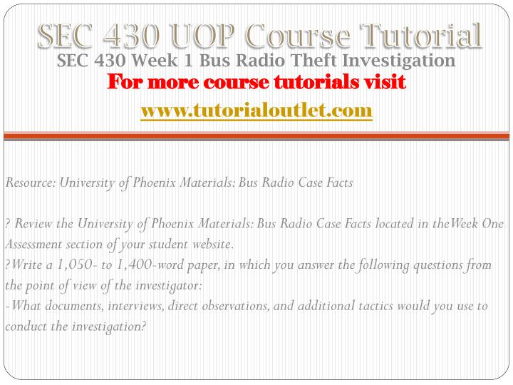 Sec 430 uop course tutorial1