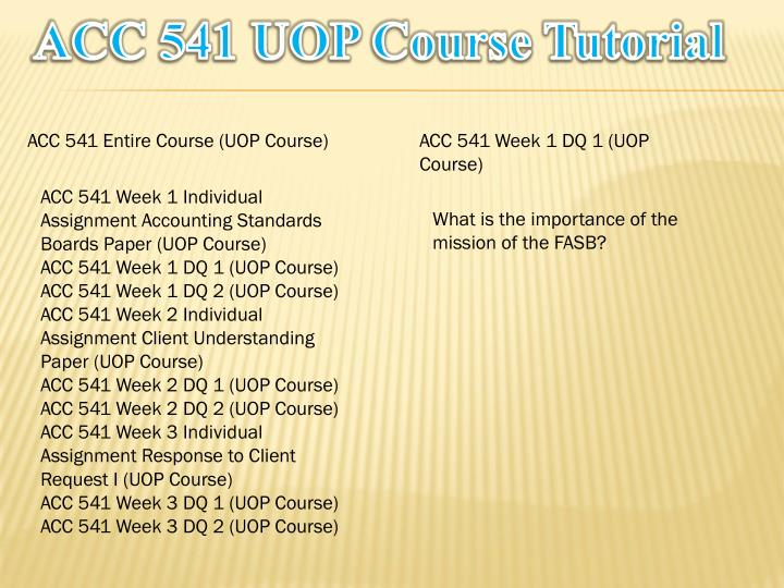 Acc 541 uop course tutorial