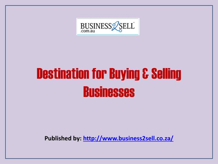 Destination for buying selling businesses