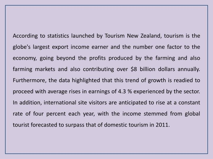 According to statistics launched by Tourism New Zealand, tourism is the globe's largest export incom...