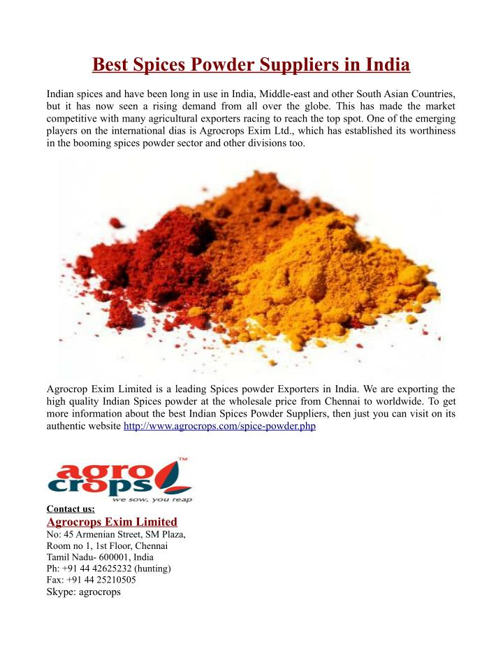 Best Spices Powder Suppliers in India
