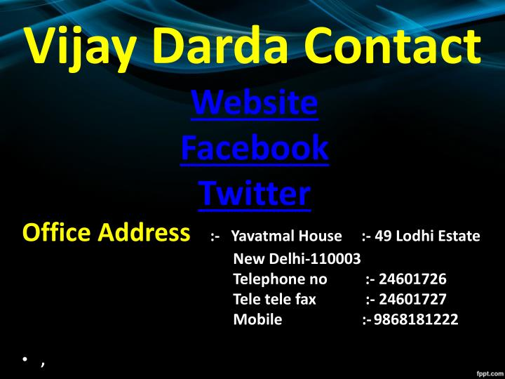Vijay Darda Contact
