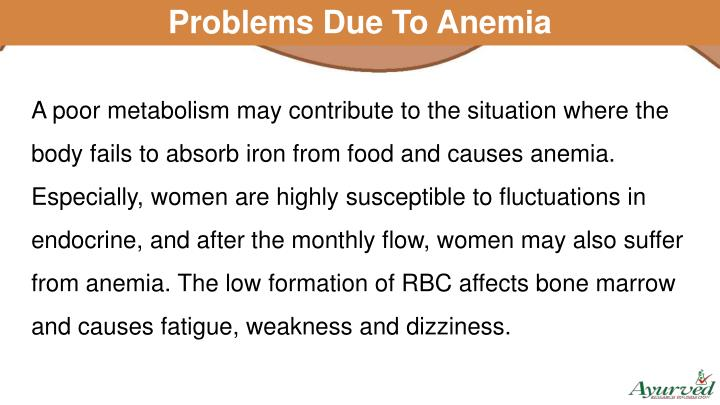 Problems Due To Anemia