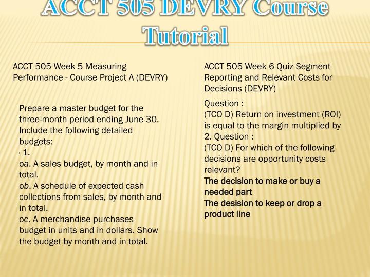 ACCT 505 DEVRY