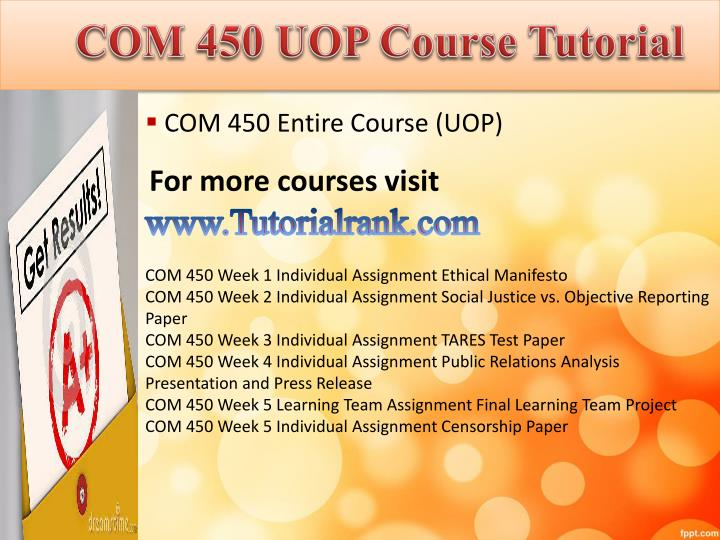 Com 450 uopcourse tutorial