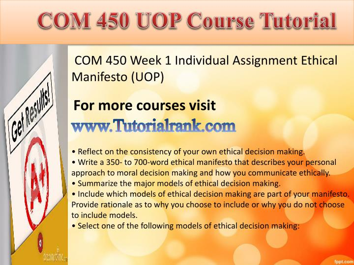 Com 450 uopcourse tutorial1