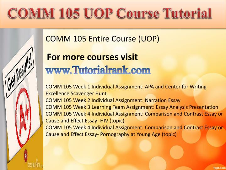 Comm 105 uopcourse tutorial