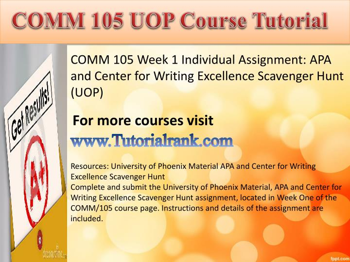 Comm 105 uopcourse tutorial1